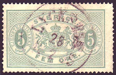 SWO035 Sweden Scott # O3 used,  Official - 1874