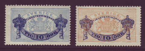 SWO26-271 Sweden Scott # O26-27 MNH, Official Stamp surcharged 1889