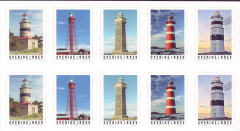 SW2905 Sweden Booklet Pane of Lighthouses  - 2018