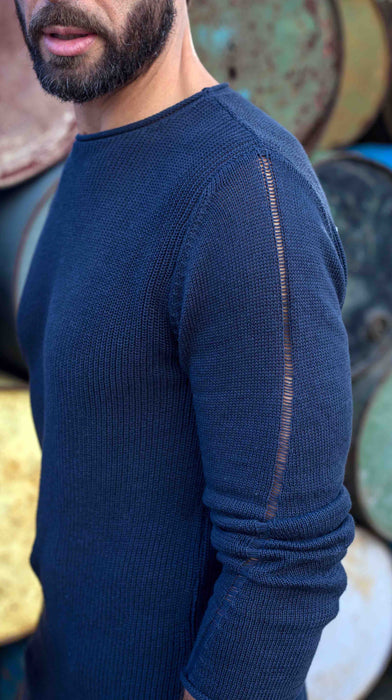 Blue Knit Spiral Jumper