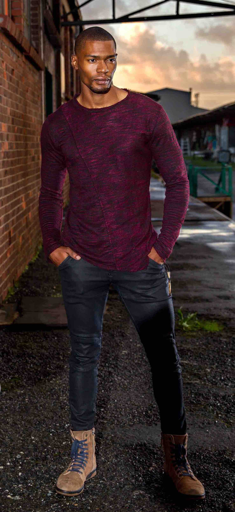 Burgundy Asymmetrical Jumper