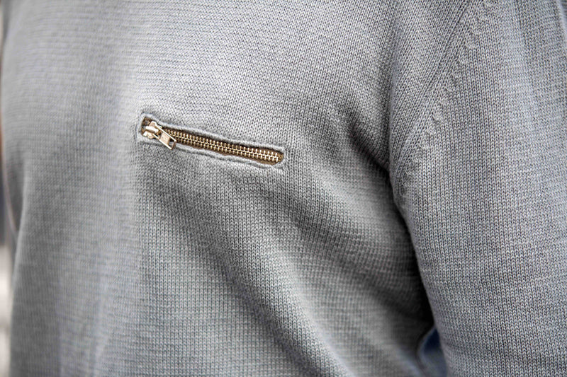 Grey Knit Zip Detail Jumper