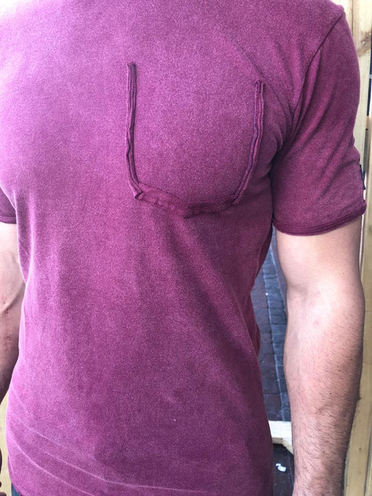 Plum Ripped Pocket Tee