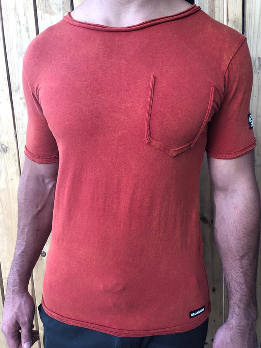 Burnt Orange Ripped Pocket Tee