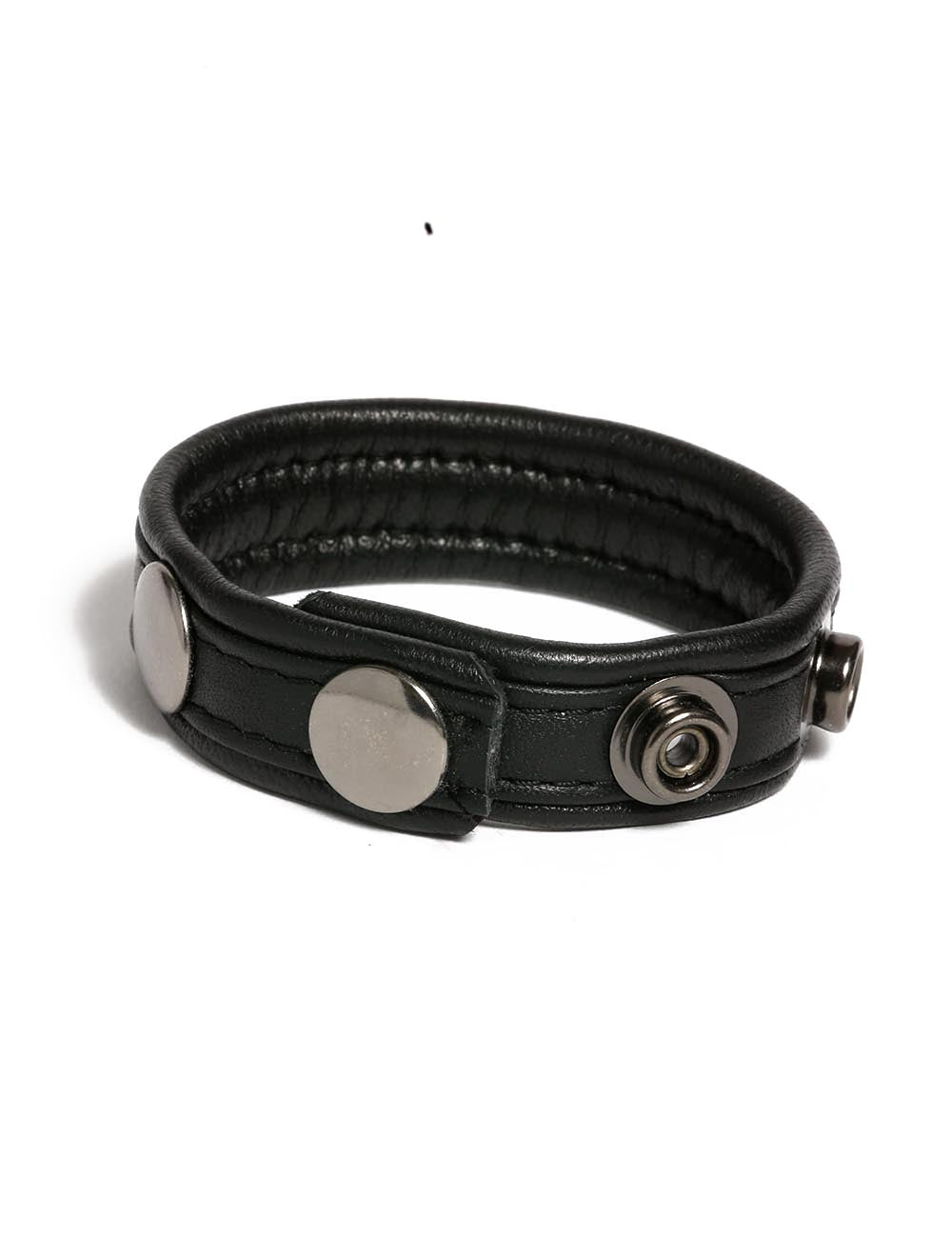 Adjustable Leather Cock Ring with snaps in Black