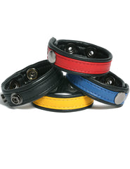 Adjustable Leather Cockring Available in Black, Blue, Red, Yellow