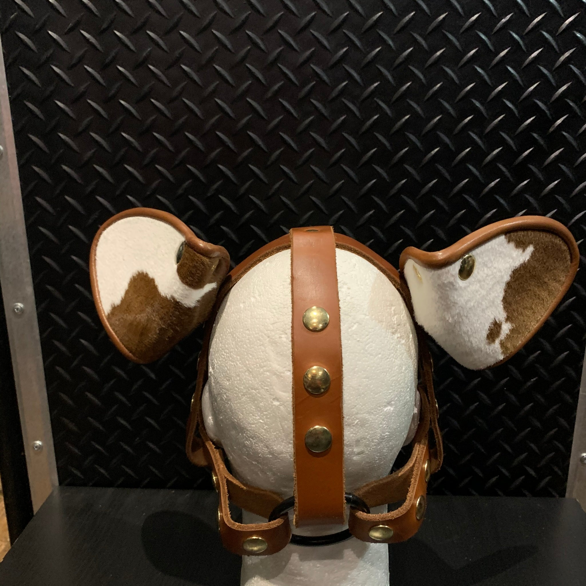 P&C CREATIONS PUP HOOD-MUTT BROWN WHITE SPOTS