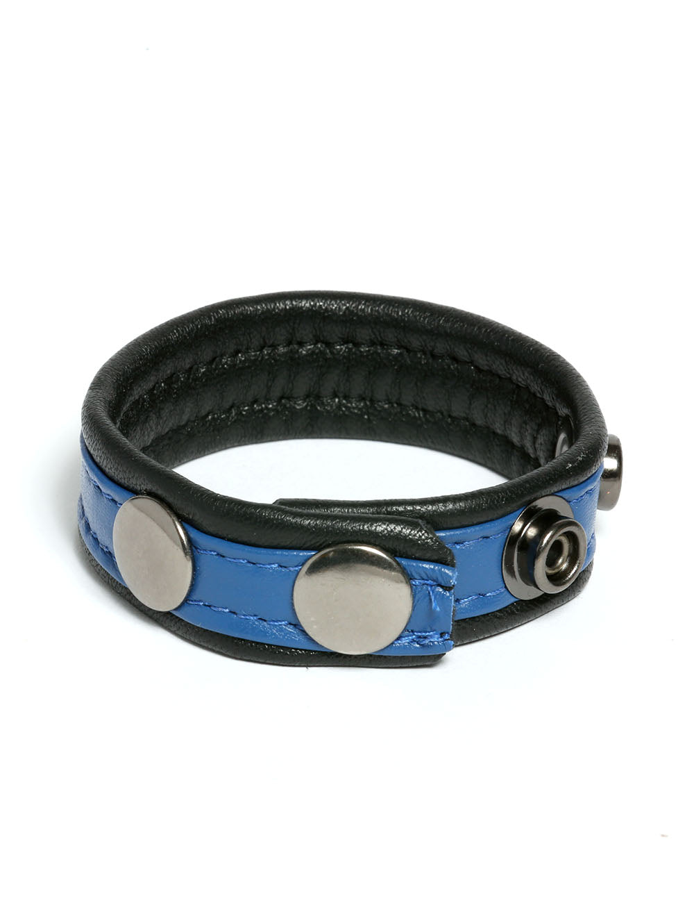 Adjustable Leather Cock Strap in Blue