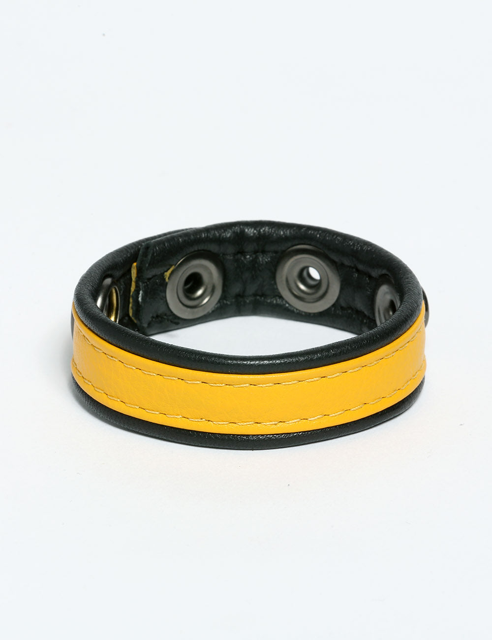 Adjustable Leather cockring with snaps in yellow