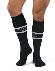 Mister B urban football socks with condom pocket black