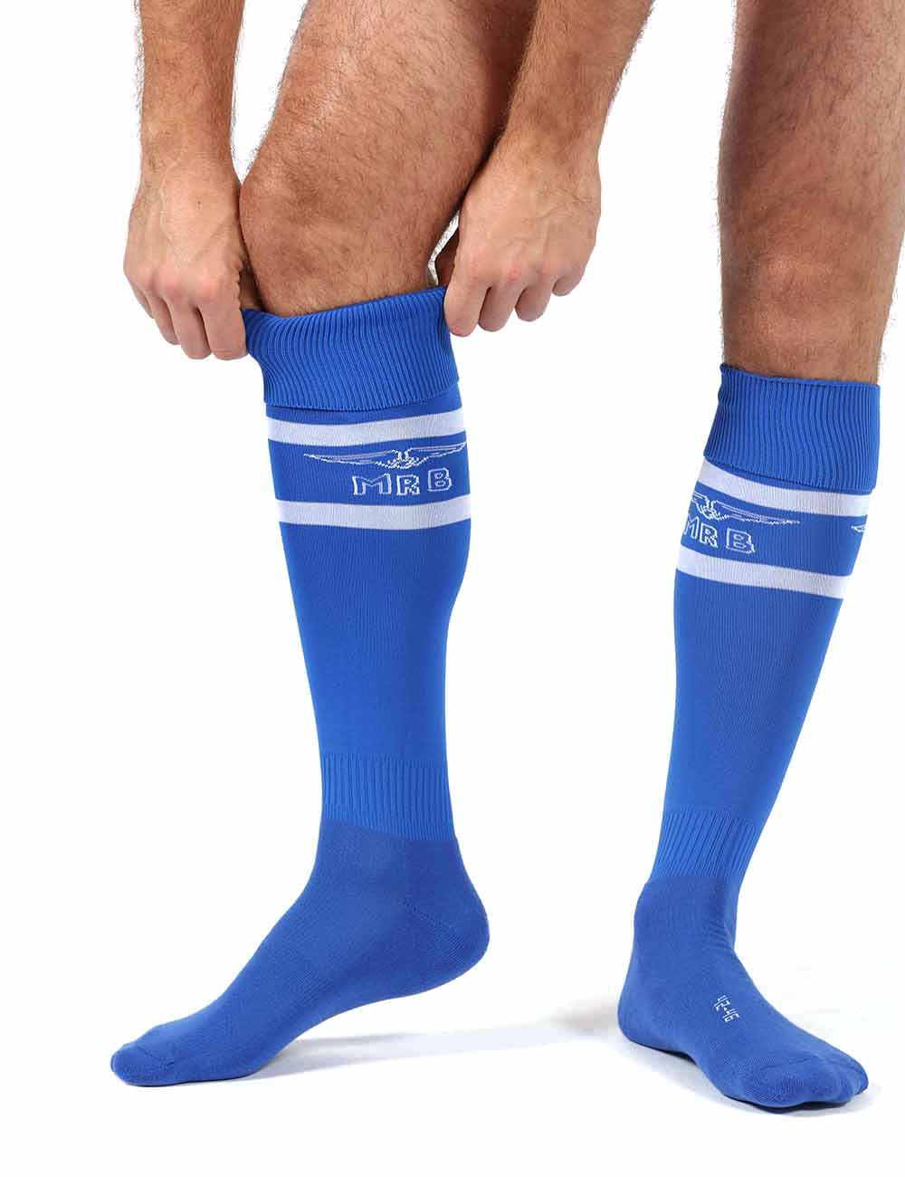 Mister B urban football socks with condom pocket blue