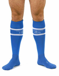 Mr B urban football socks with pocket blue