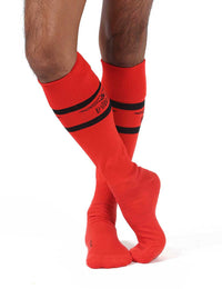 Mister B urban football socks with condom pocket red