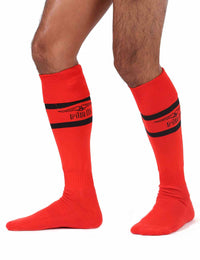 Mr B urban football socks with pocket red