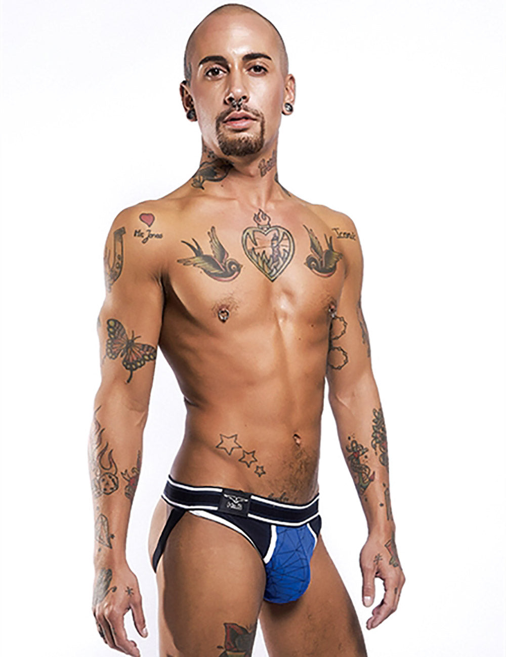 Mr B urban mission gay mens underwear jock blue side