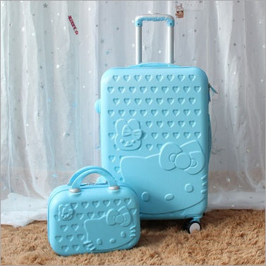 680312312c1c HOT 2PCS SET 14inch Cosmetic bag hello Kitty 22 28 inch girl trolley case  ABS