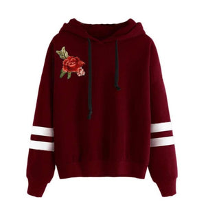 Rose Embroidered Sport Hoodie