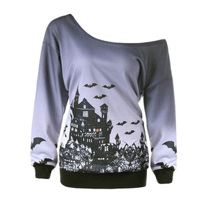 Haunted House One Shoulder Sweatshirt