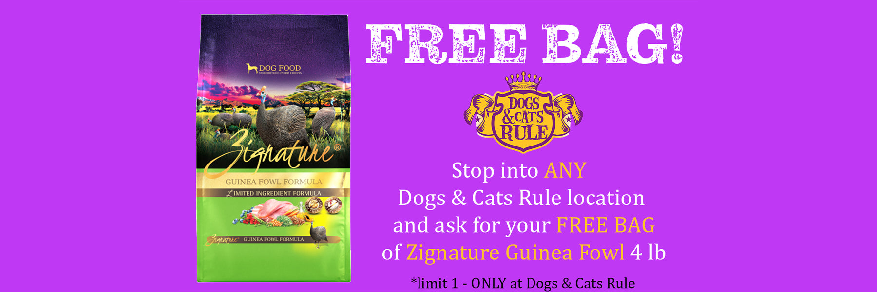 stop in for free bag of zignature food