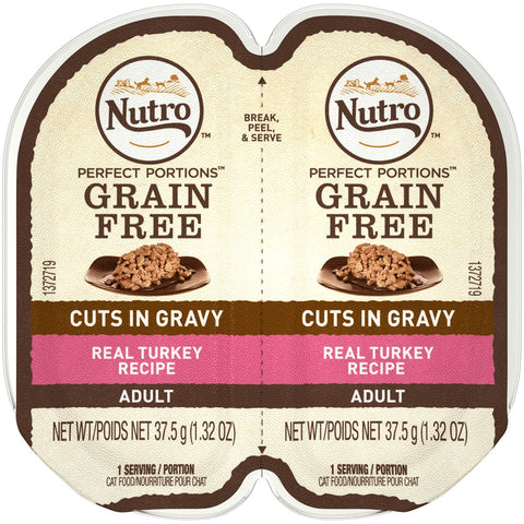 Nutro Perfect Portions Grain Free Cuts In Gravy Real Turkey Recipe Wet Cat Food Trays