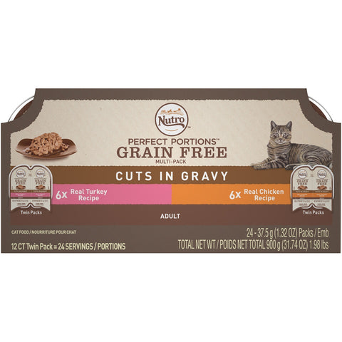 Nutro Perfect Portions Grain Free Chicken and Turkey Cuts in Gravy Wet Cat Food Tray Variety Pack