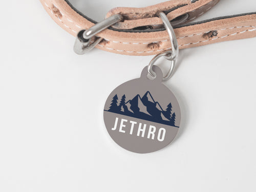 Pet Tag - Round - Mountain Grey