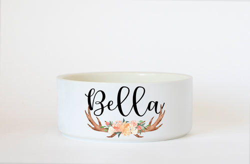 Antlers and Flowers Ceramic Dog Bowl