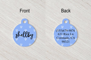 Pet Tag - Round - Blue Hearts