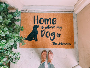 """Home is where my dog is"" Doormat"