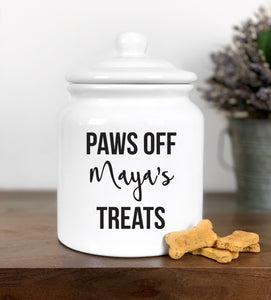 """Paws off"" Large Dog Treat Jar"