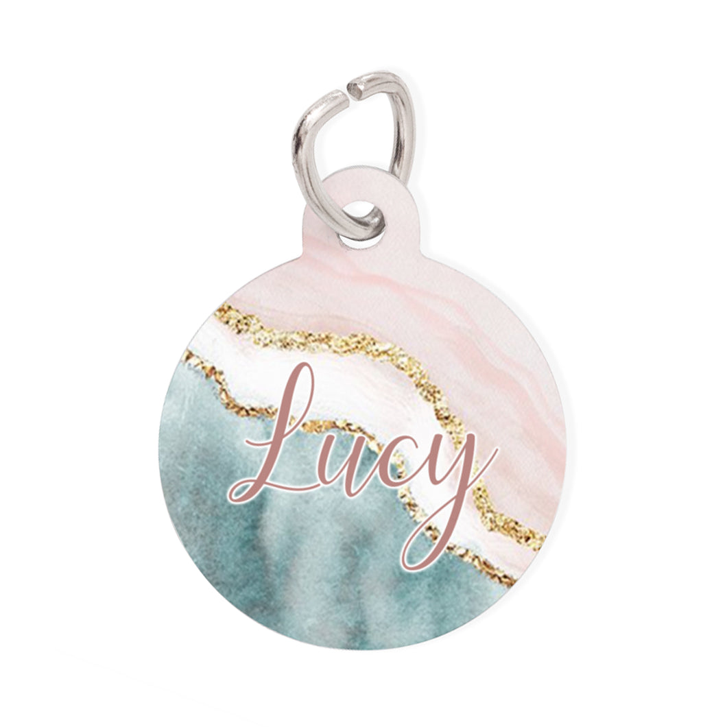 Pet Tag - Round - Pink Marble