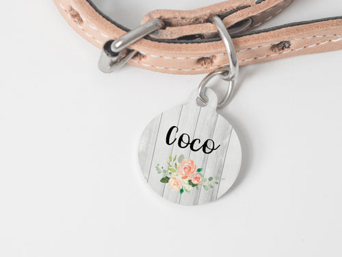 Pet Tag - Round - Wood and Flowers