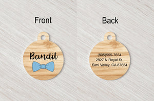 Pet Tag - Round - Bow tie