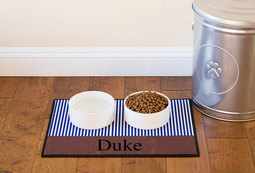 Dog Placemat - Stripes and Suede