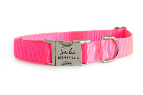 Neon Pink Nylon Dog Collar
