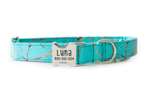 Teal Marble Dog Collar