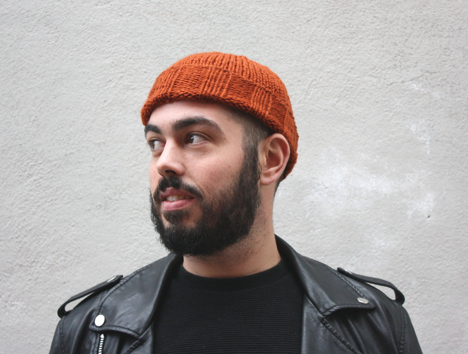 Men's Merino Beanie in Rust, hand knit with Merino wool in Canada