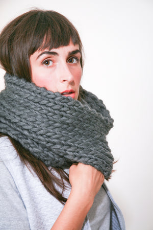 Arctic Tundra Cowl in Black, hand knit in Canada