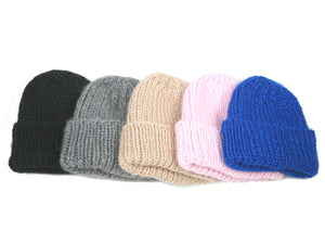 Ribbed Knit Hat in Fair Trade Silk Alpaca Merino Wool Blend