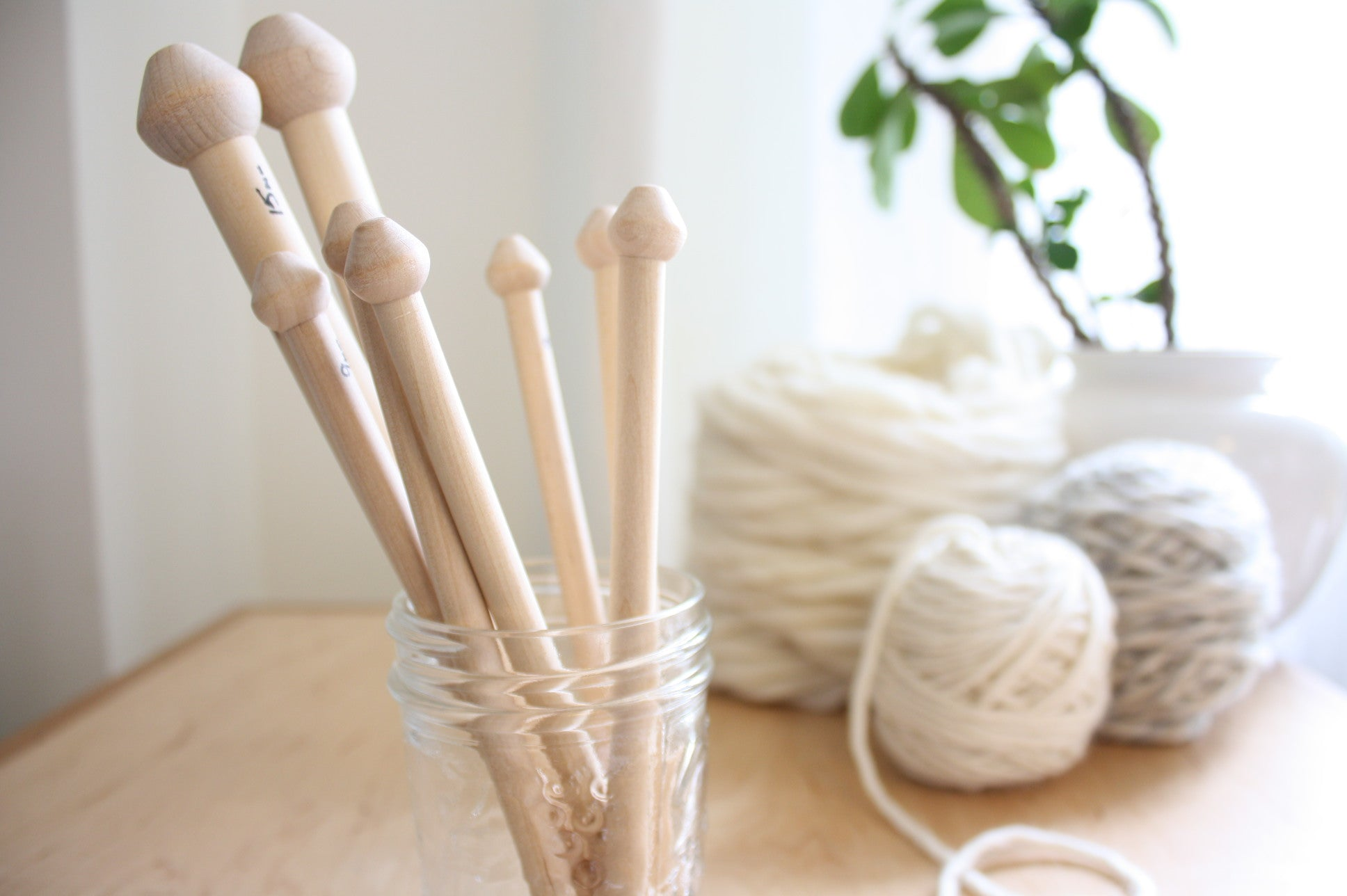 Birch Wood Knitting Needles, hand crafted in Nova Scotia