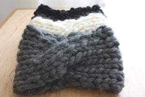 Arctic Cross Headband, Slate Gray Knit Headband in Chunky Merino Wool