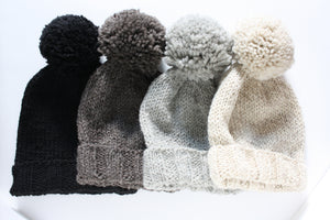 Knit Pompom Toque, made in Canada from pure wool
