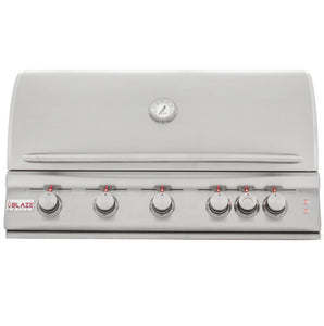 "Blaze 40"" 5 Burner LTE Gas Grill With Rear Burner And Built-In Lighting System"