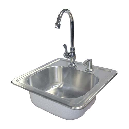 CAL FLAME Stainlees Steel Sink W/Faucet Y Soap Dispenser