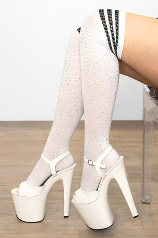 Thigh High Diamonte Socks-White/Black Stripe