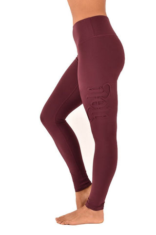 Embossed Leggings - Burgundy