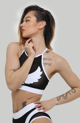 I S I S Goddess Halter Top - White with Black Mesh