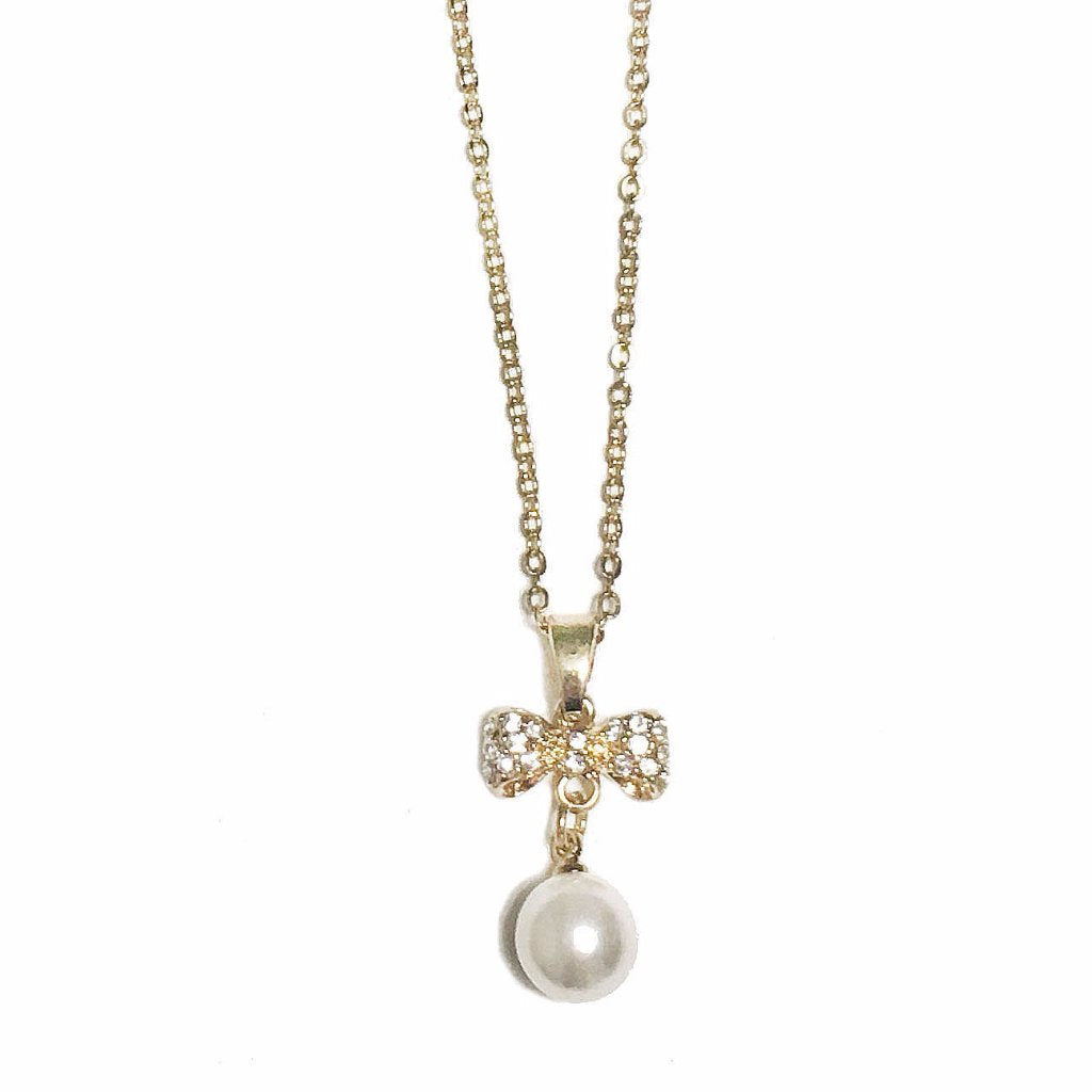 Rhinestone Bow Necklace with Faux Pearl