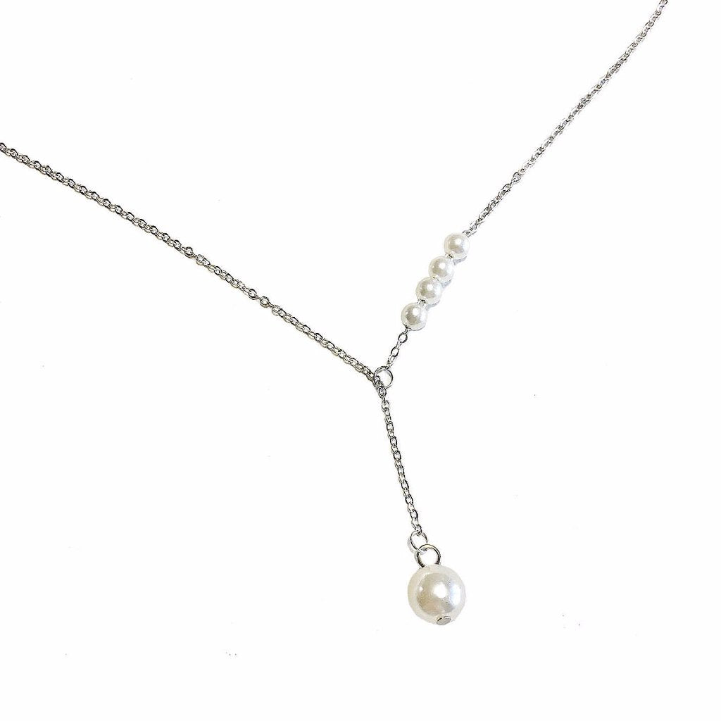Dainty Faux Pearl Drop Necklace - MenriThings