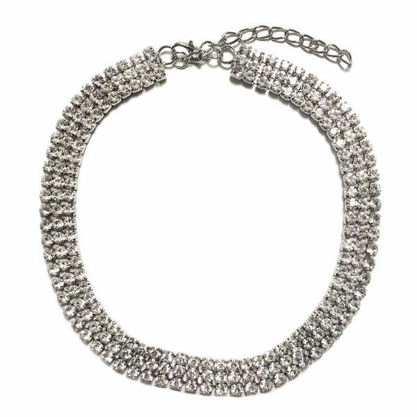 Three Layer Rhinestone Choker